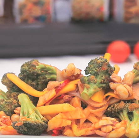 Broccoli and Vegetables with Schezwan Peanuts